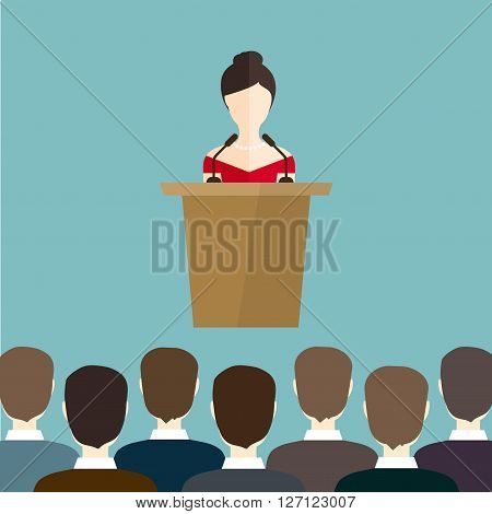 Business woman makes a speech on the podium. Business flat vector illustration.