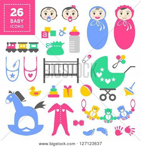 Colorful cute baby icon set. Cool cartoon items for little toddler girl or boy. Baby shower day invitation card design. Childish things: bed, bug, clothes, footprint, tracing of hand, rattle