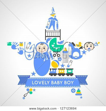 Baby boy icons collection set in form of a star. Newborn toddler boy card. Boy baby shower set of elements for design. Set of baby cards. Can be used for wallpaper, pattern fills, web page