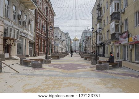 ROSTOV-ON-DON RUSSIA- APRIL 24 -Builders reconstructed Cathedral Lane on April 242016 in Rostov-on-Don
