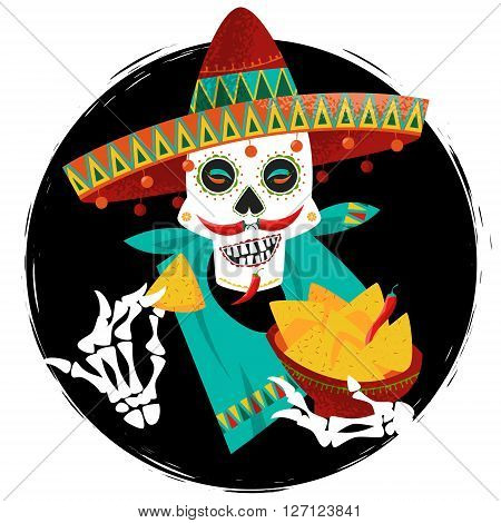 Mexican food. Smiling skull with jalapeno pepper mustache in sombrero eating nachos. Vector illustration