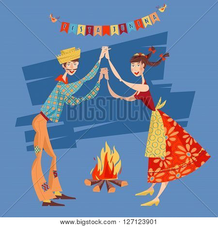 Brazilian holiday Festa Junina (the June party). Couple dancing traditional dance Quadrilha. Vector illustration