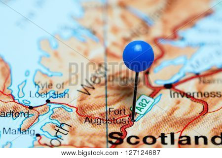 Fort Augustus pinned on a map of Scotland