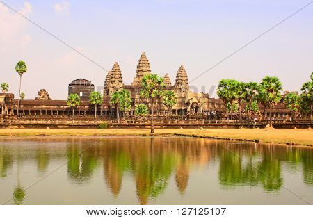 Famous landmark Angkor Wat complex, khmer culture, Siem Reap, Cambodia