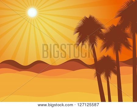 Sunset In The Desert With Palm Tree. Desert Landscape. Vector Illustration.