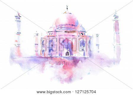 watercolor drawing of Taj Mahal in Agra, India.
