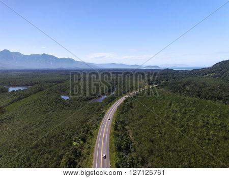 Aerial View of Mogi Bertioga highway, Sao Paulo, Brazil