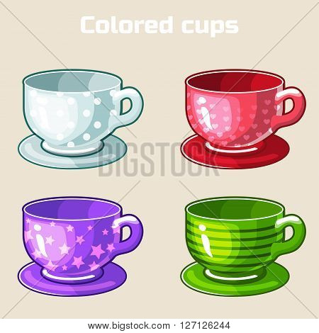cartoon colorful tea and coffee cups. Set of food and drink