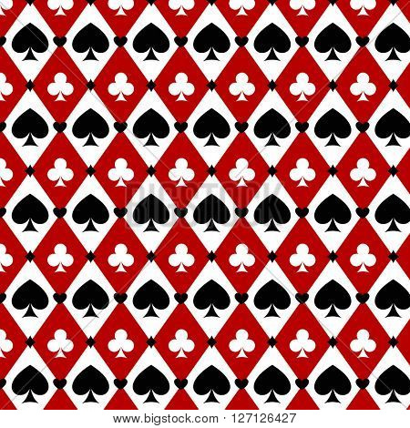 casino gambling poker background with red, black, white cards symbols. Seamless pattern is in the swatches palette. Vector illustration