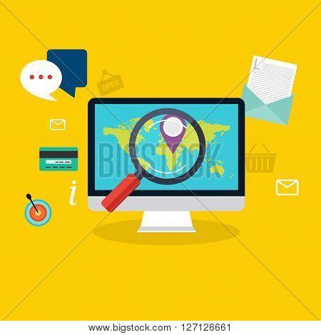Social Media Flat Modern Design Concept Local Store Marketing Vector. Flat Web Illustration Infograp