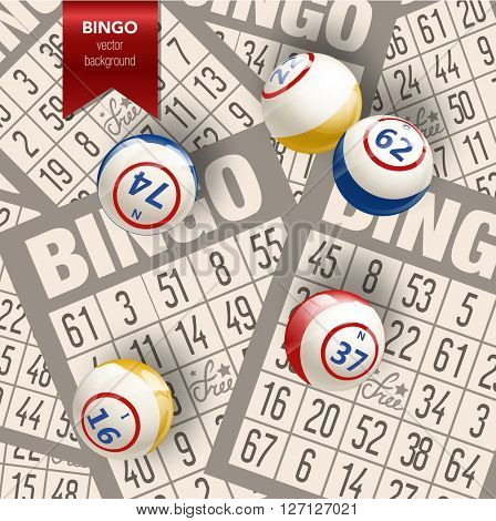 Bingo or Lottery  Background. Balls and Cards. Vector Illustration background.