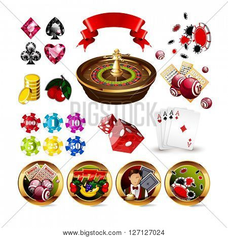Big Set of Casino Gambling Elements and Icons Including Roulette Wheel, Playing Cards, Dice, Bingo Balls and Cards, Card Suits. Vector Illustration