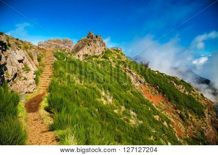 footpath and steps at the Pico do Arieiro trekking area Madeira Portugal