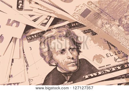 close up european and american money business concept