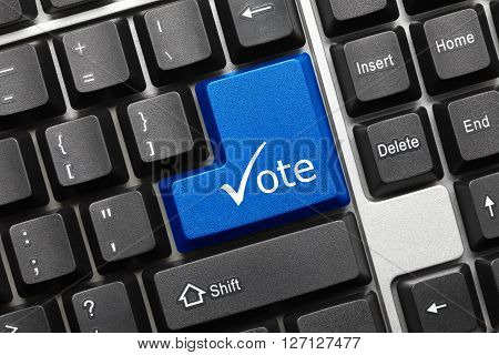 Conceptual Keyboard - Vote (blue Key With Check Symbol)