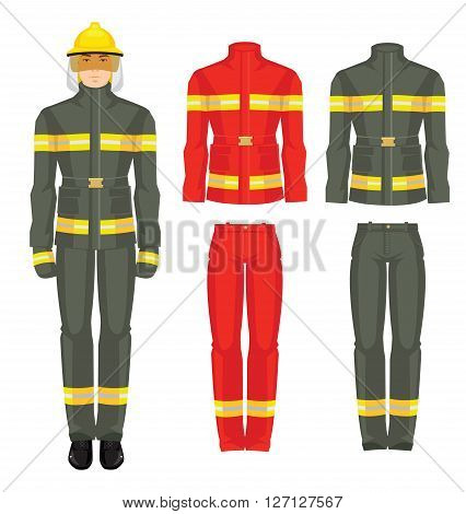 Vector illustration of firefighter in uniform isolated on white background. Formal clothes for fireman