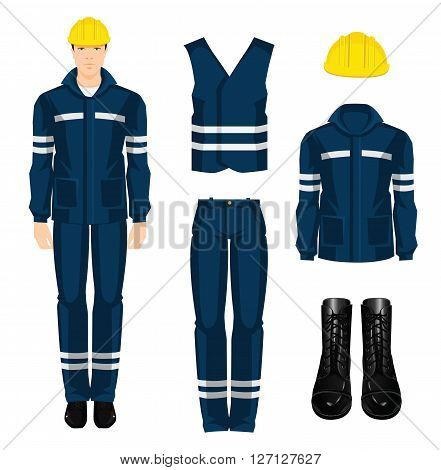 Man worker in protective wear and helmet. Set of protective wear, shoes and yellow safety helmet on white background