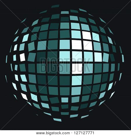 Vector illustration: disco club mirror ball (glitter ball). Can be used as logo or icon element.
