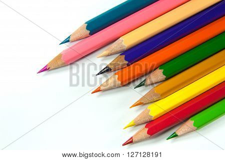 The colorful pastel on the white background