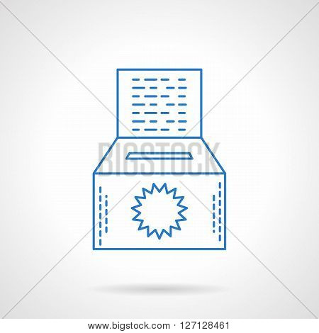 Donation box with sun symbol and abstract text. Contributions for environment fund. Saving nature concept. Flat blue line style vector icon. Single design element for website, business.