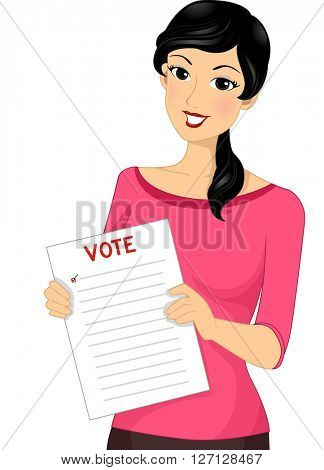 Illustration of a Female Voter Holding Out a Ballot