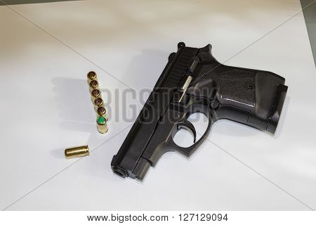 9 mm Caliber custom match grade color black automatic pistol gun firearm for sport or personal protection or defense