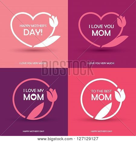 Set of four Mothers Day greeting card banner or poster designs round and heart shaped frames with abstract tulip flower in pink colors