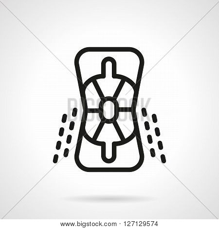 Protection pads for elbows for riding on a skateboard, longboard, rollers. Accessories for extreme sport. Sport goods store. Simple black line vector icon. Single element for web design, mobile app.