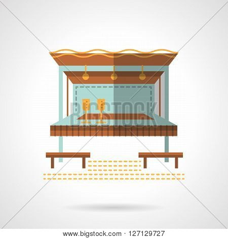 Blue outside bar with glasses, brown roof and chairs. Construction for party, entertainment on coast. Cafe and bungalows. Flat color vector icon. Web design element for site, mobile and business.