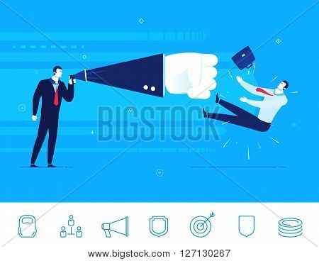 Flat design vector illustration concept of business situation. Businessman sends a knockout of his opponent. Vector clipart. Icons set.