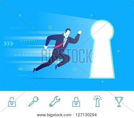 Flat design vector illustration concept of business situation. businessman running to the keyhole. Go to the target. Vector clipart. Icons set.