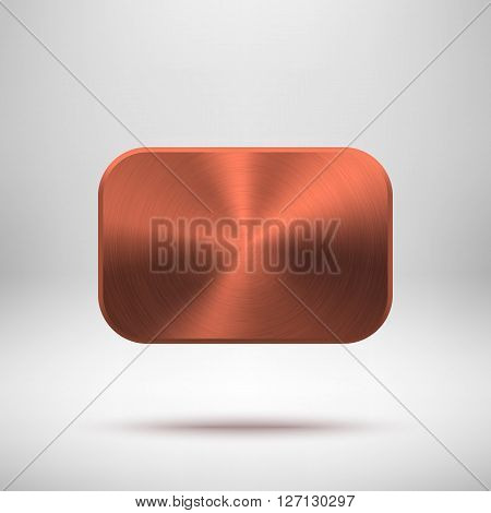 Bronze abstract rectangle badge, blank button template with metal texture (chrome, silver, steel), realistic shadow and light background for web, UI, applications and apps. Vector illustration.
