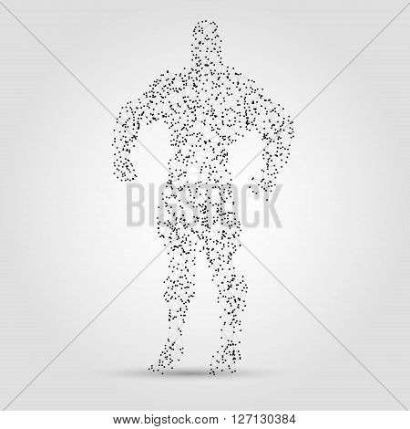 Abstract human figure from dots and lines. Hero abstract figure. Design element in vector.
