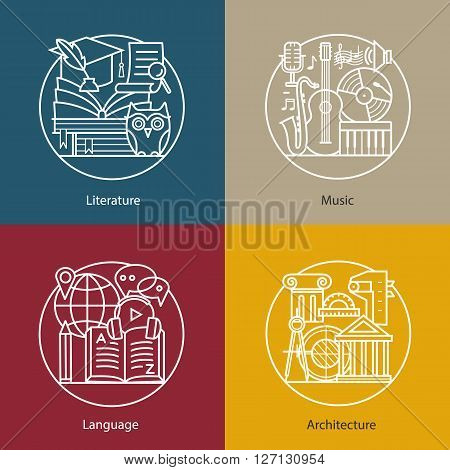 Vector set of logos literature, music, language, architecture. Modern thin line icons. The modern concept of a collection of vectors. Unique design elements for your company. Labels for school, College and University.