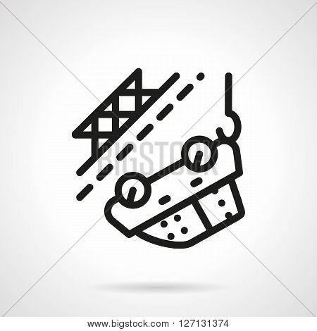 Abstract car hanging on crane hook. Emergency. Evacuation vehicles for repair or disposal. Car insurance concept. Simple black line vector icon. Single element for web design, mobile app.