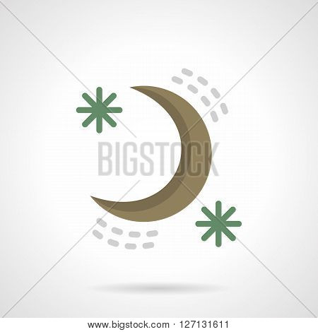Abstract color crescent and two green stars. Night sky symbol. Time to sleep. Astronomy elements. Flat color style vector icon. Web design element for site, mobile and business.