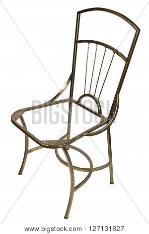 Frame of metal chair on white background