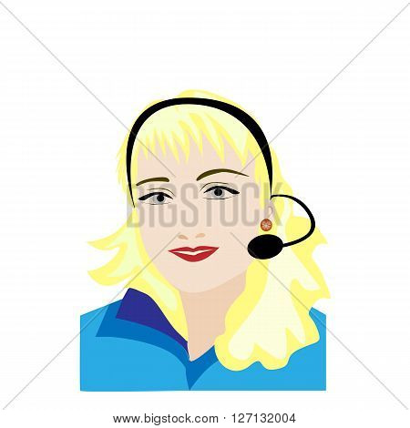 Woman customer service worker call center smiling operator with phone headset on white background. Vector illustration
