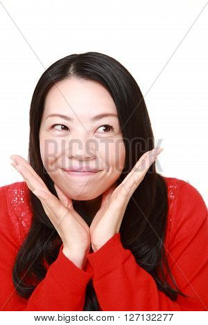 Japanese woman pleased young Japanese woman on white background