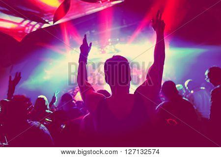 Music Concert, soft focus silhouette