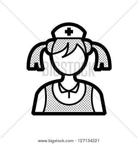 woman nurse icon old clothe style support vector design  eps 10.