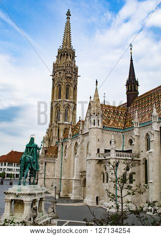 St. Stephen's equestrian statue and Matthias Church in Budapest, Hungary
