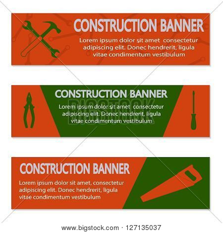 Advertising banners with different tools, vector illustration
