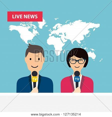 Female and male TV presenters sit at the table. Live news. News of the world.
