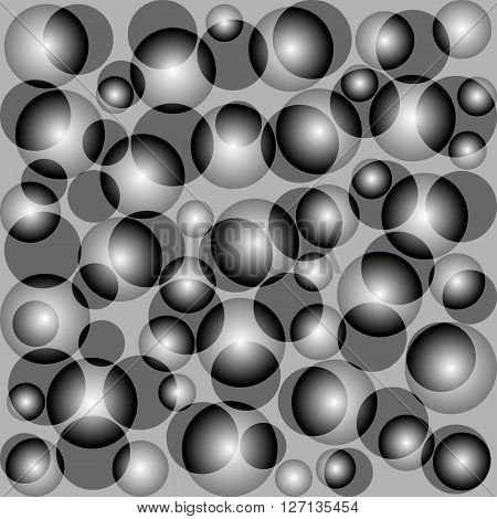 Square abstract gray background with bright circles. Transparency.