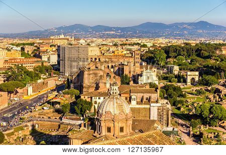 View of Forum Romanum with Colosseum - Italy