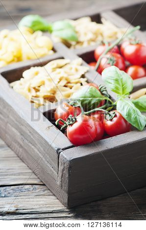 Mix Of Italian Pasta In The Wooden Box