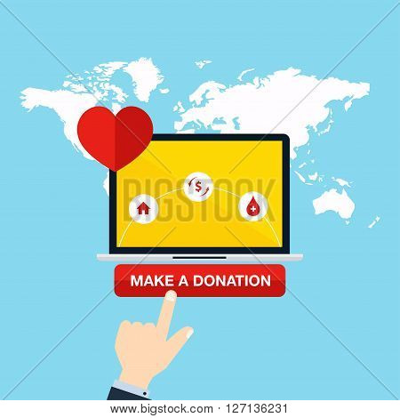 Concept for charity online service. Medical donations internet funding donation money. Flat vector illustration.