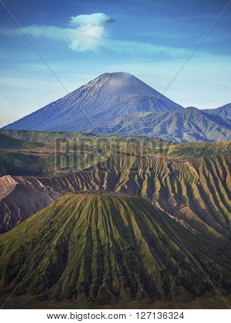 Mount Semeru volcano in East Java Indonesia. Gunung Semeru is the highest mountain in the island of Java.