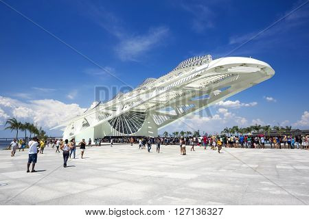 Rio de Janeiro, Brazil - December 19, 2015: Tourists at the Museum of Tomorrow (Museu do Amanha), designed by Spanish architect Santiago Calatrava in Rio de Janeiro, Brazil.